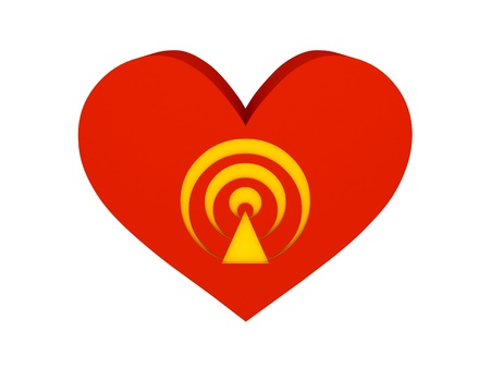 Big red heart with broadcast symbol. Concept 3D illustration. illustration