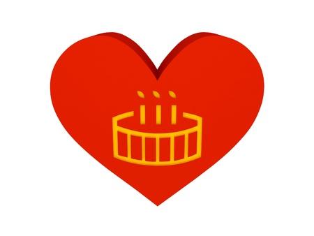 Big red heart with birthday cake symbol. Concept 3D illustration. illustration