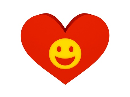 Big red heart with laughing face symbol. Concept 3D illustration. illustration
