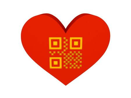 Big red heart with QR code symbol. Concept 3D illustration. illustration