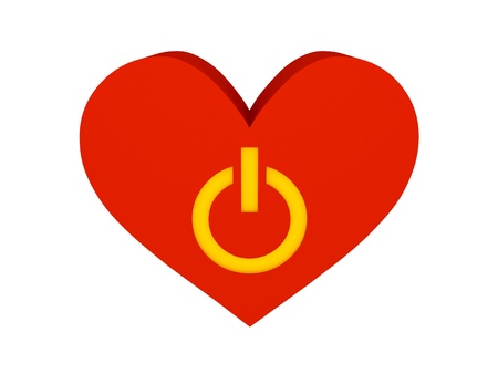 Big red heart with switch symbol. Concept 3D illustration Stock Illustration - 21426334
