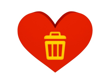 Big red heart with trash can symbol. Concept 3D illustration illustration