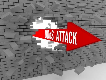 powerfull: Arrow with words DDos Attack breaking brick wall. Concept 3D illustration. Stock Photo
