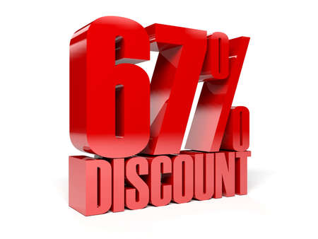 67 percent discount. Red shiny text. Concept 3D illustration. illustration
