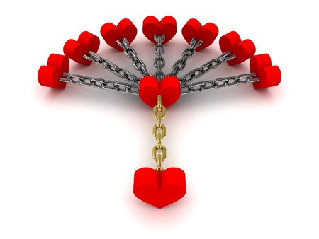 dependence: Seven hearts linked with one heart.  Dependence on past relations. Concept 3D illustration. Stock Photo