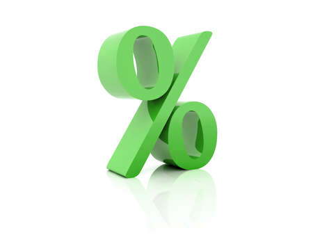 Percent. Green on white background. Concept 3D illustration Stock Illustration - 21756771