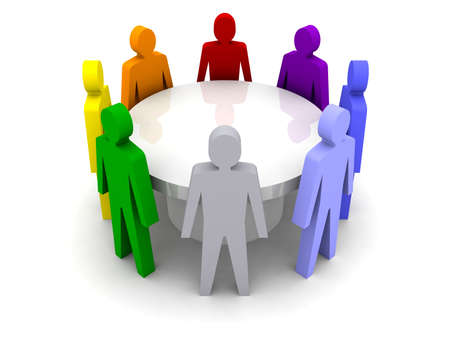 teamwork concept: Conference of different people. Concept 3D illustration Stock Photo