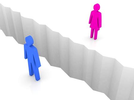 resentful: Man and woman split on sides, separation crack. Concept 3D illustration.