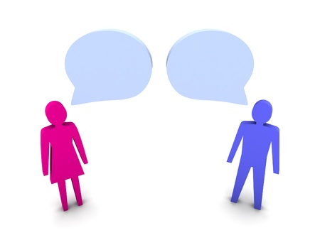 Man and woman dialog. Concept 3D illustration. Stock Photo