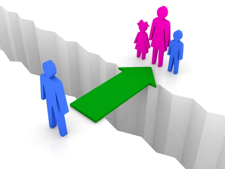 reconciliation: Bridge from man to woman with children. Family reunion. Concept 3D illustration. Stock Photo