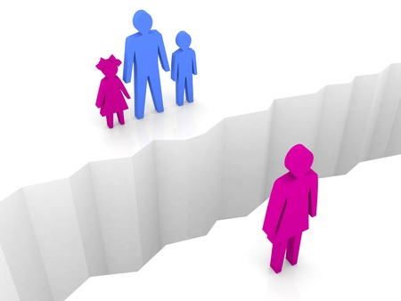 resentful: Woman and man with children split on sides, separation crack. Concept 3D illustration.