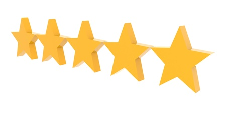 Five stars rating. Concept 3D illustration.