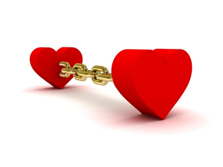 Two hearts linked by golden chain. Concept 3D illustration. illustration