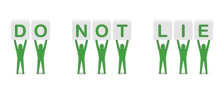 lie: Men holding the phrase do not lie. Concept 3D illustration. Stock Photo