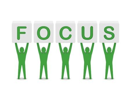 Men holding the word focus. Concept 3D illustration. Stock Illustration - 21906540