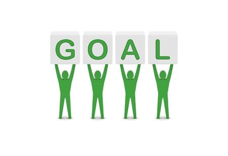 Men holding the word goal. Concept 3D illustration. Stock Illustration - 21906545