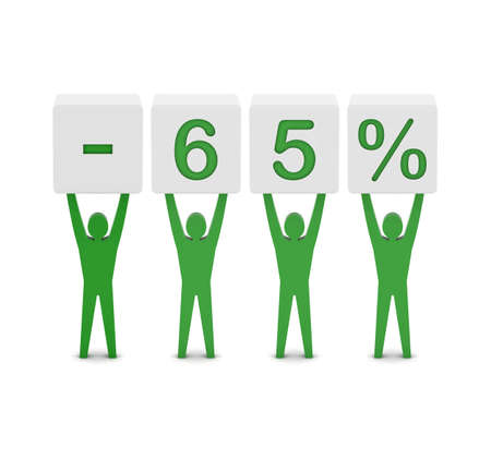 Men holding minus 65 percent. Concept 3D illustration. Stock Illustration - 21906590