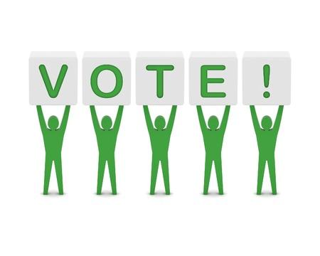 Men holding the word vote. Concept 3D illustration. Stock Illustration - 21906645