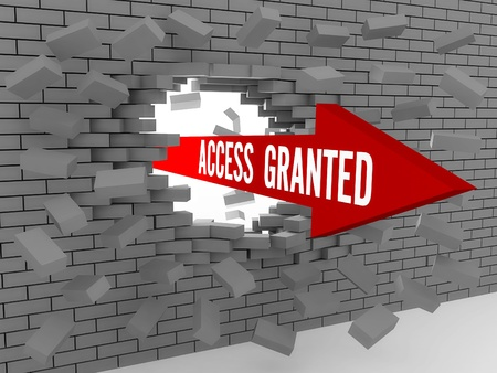 access granted: Arrow with words Access Granted breaking brick wall. Concept 3D illustration.