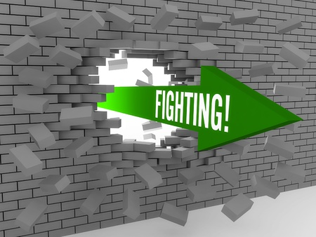 Arrow with word Fighting breaking brick wall. Concept 3D illustration. illustration