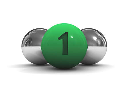 Chrome balls with the green leader in front. Concept 3D illustration illustration