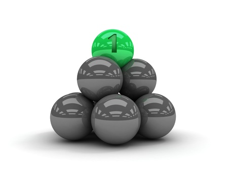 Pyramid. Green ball on the top. Concept 3D illustration illustration