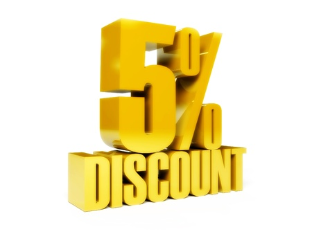 5 percent discount. Gold shiny text. Concept 3D illustration. Stock Illustration - 22075228