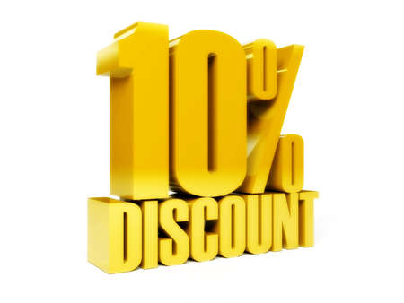 10 percent discount. Gold shiny text. Concept 3D illustration. Stock Illustration - 22075229