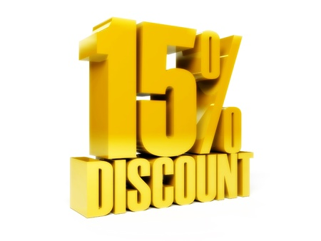 15 percent discount. Gold shiny text. Concept 3D illustration. Stock Illustration - 22075230