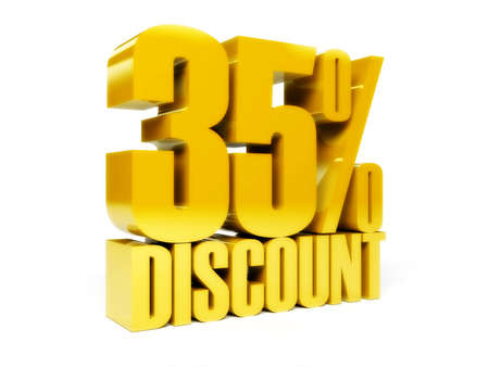 35 percent discount. Gold shiny text. Concept 3D illustration. illustration