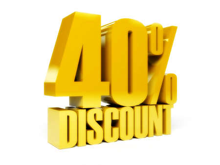 40 percent discount. Gold shiny text. Concept 3D illustration. illustration