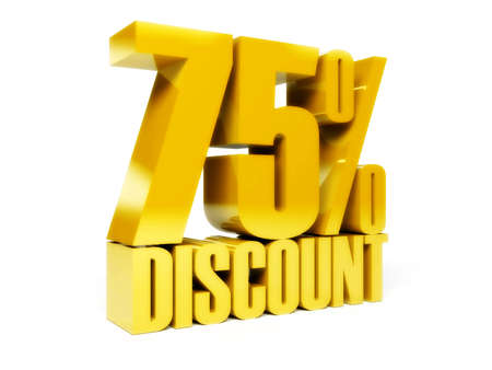 75 percent discount. Gold shiny text. Concept 3D illustration. illustration