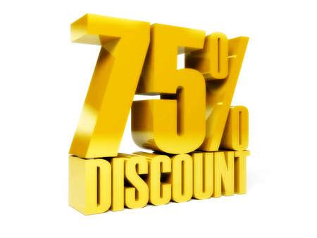 75 percent discount. Gold shiny text. Concept 3D illustration. illustration