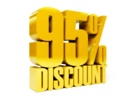 95: 95 percent discount. Gold shiny text. Concept 3D illustration. Stock Photo