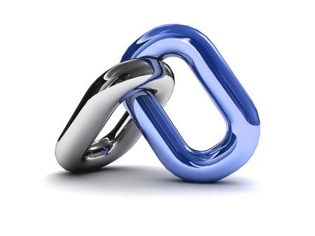 Ketting link geïsoleerd op een witte achtergrond. Concept 3D illustratie.