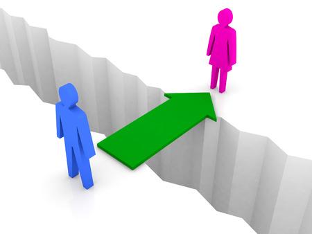 separation: Bridge from man to woman through separation crack. Concept 3D illustration.