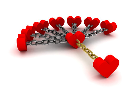chained link: Seven hearts linked with one heart.  Dependence on past relations. Concept 3D illustration. Stock Photo
