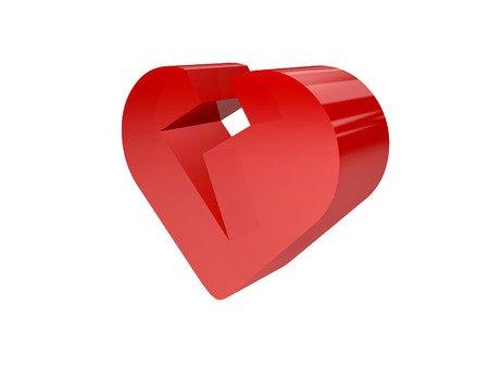 Big broken heart over white background. Concept 3D illustration. illustration