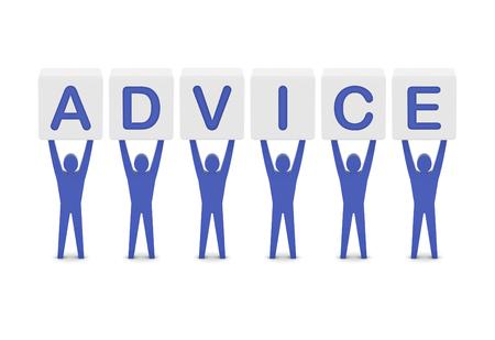 Men holding the word advice. Concept 3D illustration. illustration