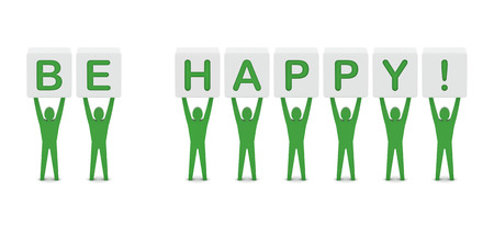 be happy: Men holding the phrase be happy. Concept 3D illustration. Stock Photo
