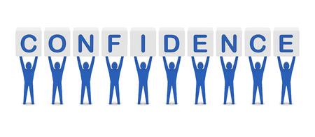 Men holding the word confidence. Concept 3D illustration. illustration
