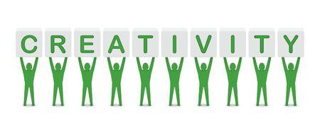 Men holding the word creativity. Concept 3D illustration. illustration