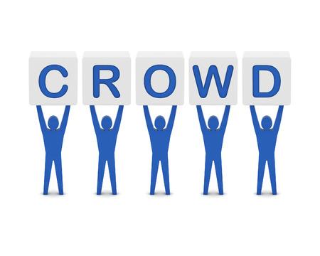 Men holding the word crowd. Concept 3D illustration. illustration
