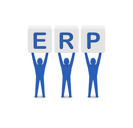 Men holding the word ERP. Enterprise Resource Planning. Concept 3D illustration. illustration