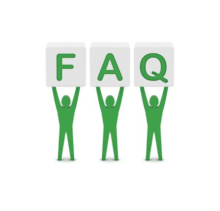Men holding the word faq. Concept 3D illustration. illustration