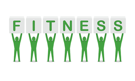 sports symbols metaphors: Men holding the word fitness. Concept 3D illustration.