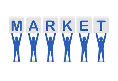 Men holding the word market. Concept 3D illustration. illustration