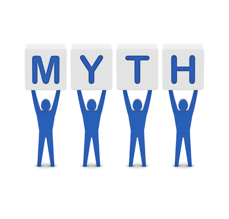 Men holding the word MYTH. Concept 3D illustration.