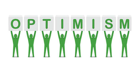 optimism: Men holding the word optimism. Concept 3D illustration.