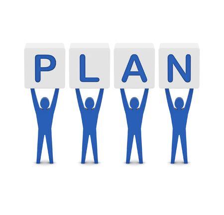 Men holding the word plan. Concept 3D illustration. illustration